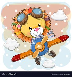 Cartoon lion is flying on a plane vector image on VectorStock Cute Cartoon Pictures, Cute Pictures, Cartoon Lion, Islamic Cartoon, Drawing School, Cute Lion, Cartoon Drawings, Cartoon Illustrations, Cute Illustration