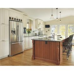 Traditional (Victorian, Colonial) Kitchen by Lisa Zompa-stainless french style fridge