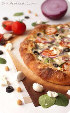 Greek Hummus Pizza.