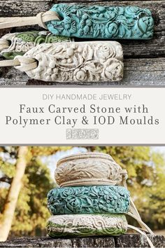 How to DIY bracelets using polymer clay and IOD moulds. Learn the easiest way to get a faux carved stone or bone jewelry effect when jewelry making with this step-by-step tutorial with Iron Orchid Designs. Polymer Clay Crafts, Polymer Clay Jewelry, Jewelry Crafts, Handmade Jewelry, Bone Jewelry, Enamel Jewelry, Iron Orchid Designs, Paperclay, Bijoux Diy