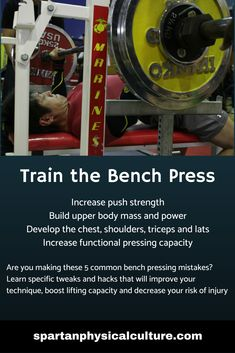 The bench press is a core Spartan movement. This compound exercise increases push strength, builds upper body mass and power, increases functional pressing capacity and trains the chest, shoulders, triceps and latissimus dorsi. Build Muscle, Muscle Building, Muscle Definition, Latissimus Dorsi, Compound Exercises, Chest Muscles, Bone Density, Bench Press, Muscle Groups