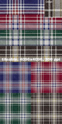 4 Flannel Plaid Textures — Photoshop PSD #pattern #seamless • Available here → https://graphicriver.net/item/4-flannel-plaid-textures/4356245?ref=pxcr