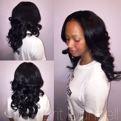 Full sew in with middle part.   Hair by Brit Dunnell  Color : Brit Dunnell   IG : Britdunnell  Snapchat : Britdunnell  Facebook: Brit Dunnell  Twitter : Brit Dunnell  Periscope: Britdunnell