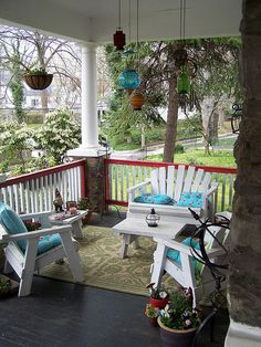 front porch railing...not in red tho'! When we get ours rebuilt. Love coziness
