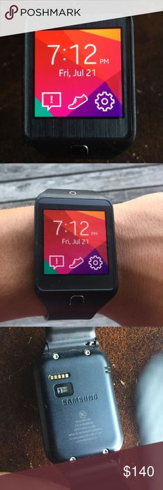 Black smart watch Samsung gear 2 neo, black smart watch for everyday and fitness tracking. Very comfortable and syncs up with a Samsung phone. Adjustable straps as well. samsung Accessories Watches