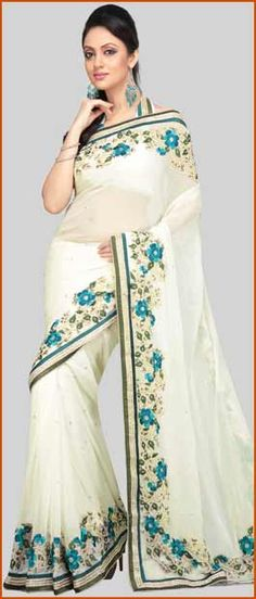 Light Cream Faux Georgette Saree With Blouse    Itemcode: SJN2499    Price: US$ 257.57    Click @ http://www.utsavfashion.com/store/sarees-large.aspx?icode=sjn2499