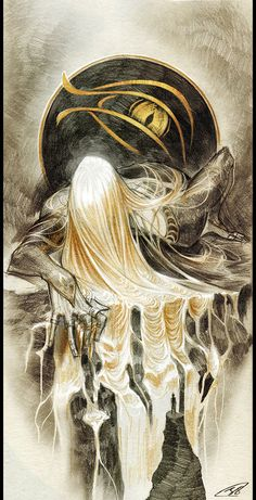 Sauron by ZI-PAArtist Notes:For his design I choosed The One Ring itself. Thus his hair is literally made of gold, flowing on the black stone. The eye in the background is based on Tolkien's minimalistic illustration.Sauron © J.R.R TolkienThis is not just Sauron being epic and dramatic. It is Sauron in Sammath Naur forging the One Ring (while being epic and dramatic!). Based on what the artist explained, I think it's an amazing interpretation of not only how absolutely immense and po...