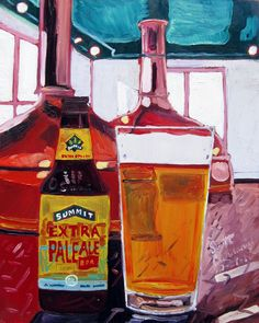 Beer Painting of Extra Pale Ale by Summit Brewing Company in Minnesota. Year of Beer Paintings by Scott Clendaniel - Day 294.