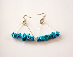 Blue Stone Triangle Earrings by misanthropycreations on Etsy, $14.50