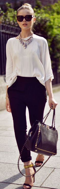 beautiful spring outfit blouse + bag + pants + heels