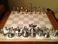 Do it yourself chess pieces... made from nuts, bolts, washers, and other assorted attachment hardware. Totally doing this!