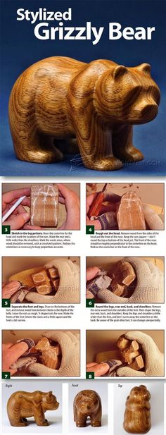 Carving Bear - Wood Carving Patterns and Techniques | WoodArchivist.com #woodworkingplans