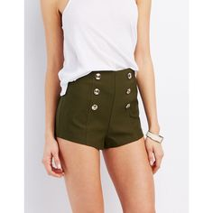 Charlotte Russe High-Rise Sailor Shorts (€16) ❤ liked on Polyvore featuring shorts, olive, high waisted sailor shorts, pull on shorts, high waisted nautical shorts, high-waisted shorts and embellished shorts