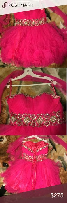 Prom dress This is a short pink prom dress. Has only been worn once. Comes with an over shaw. Beaded top. let's fashion  Dresses Prom