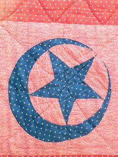 Exceptionally RARE Crescent Moon Star Pieced Antique Quilt Red c1900       ...~♥~