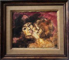 PIERRE CHALITA - Casal, ost, 40x50cm, assinado. Da série BAILE. Artista nascido em Maceió, recebeu B