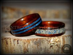 Bentwood Kingwood Wood Rings with Double Blue Lapis and Silver/Blue Glass Inlay