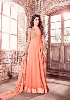 Amazing Peach Georgette Floor Length Anarkali Suit After placed order you should submit Measurement Here