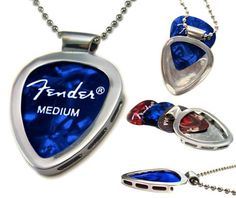 PICKBAY guitar pick holder pendant necklace MUSICIAN gift SOLVED Guitar Player gift Classic Stainless Steel Set on Etsy, $29.99