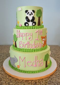 An Elephant, Fox and Even a Cuddly Panda! Precious Three Layer Kid's Birthday Cake!