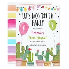 Taco Bout a Party Girl Pink First Fiesta Birthday Invitation 1st Birthday Party For Girls, 1st Birthday Party Invitations, 1st Birthday Themes, Birthday Ideas, 33rd Birthday, Fiesta Theme Party, Festa Party, Thing 1, 1st Birthdays