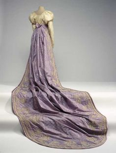 Court train, ca. 1809 No wonder the girls had to practice walking in these