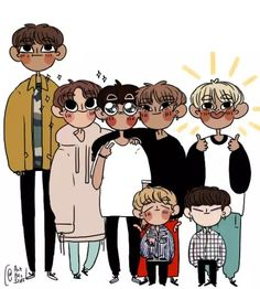 Probably an accurate height distribution for BTS without heel lifts xD even though, to be fair, they all look about the same height, with the exception of Namjoonie Jimin Fanart, Kpop Fanart, Bts Chibi, Namjoon, Taehyung, Bts Drawings, Bts Fans, Kawaii, Bts Wallpaper