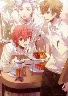 Anime guys eating cake