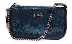 Coach Pebbled Leather Large Wristlet 53340 Metallic Blue - http://bags.bloggor.org/coach-pebbled-leather-large-wristlet-53340-metallic-blue/