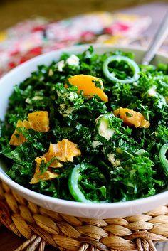 Kale Citrus Salad. Omit sugar and use Greek yogurt.