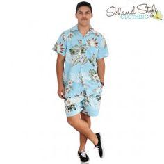 Blue Bird of Paradise Cabana Mens Cotton Hawaiian Shirt & Shorts