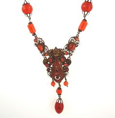 Czech Enamel and Glass Royal Necklace at Bangles and Beads Antique and Vintage Jewelry.
