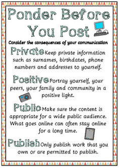 Encourage your students to ponder the consequences of their communication before they post messages using ICT. 2 Posters are included prompting students to think about their messages before they place them into any public domain.