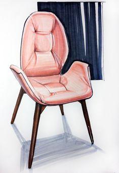 Ideas For Design Sketch Marker Interior Rendering Drawing Interior, Interior Design Sketches, Interior Rendering, Sketch Design, Design Design, Drawing Furniture, Chair Drawing, Furniture Design, Furniture Legs
