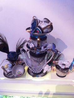 Alice in wonderland centre pieces tea cups and tea pots