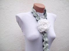 Removeable Brooch Pin Handmade crochet Lariat Scarf  by nurlu, $20.00