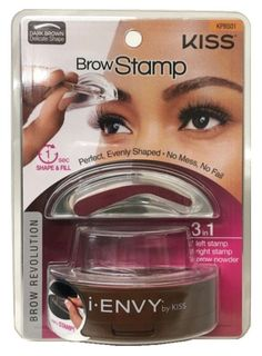 Kiss i-ENVY Brow Stamp lets you stamp your favorite eyebrows evenly: No mess, no fail. Quick and easy eyebrow application. Whether you have light eyebrows or have lost your eyebrows due to over-tweezi Eyebrow Stamp, Eyebrow Stencil, Eyebrow Makeup, Eyebrow Grooming, Eyebrow Wax, Brow Pen, Brow Stencils, Eyebrow Tips, Tweezing Eyebrows