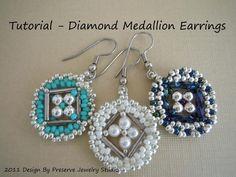Diamond Medallion Earring Tutorial pattern on Craftsy.com