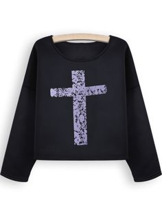 Black Long Sleeve Cross Print Crop Sweatshirt EUR€22.32