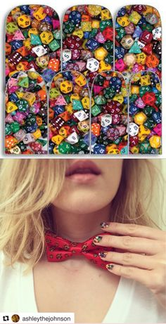 """Ashley Johnson, certified BAMF!, wearing Espionage Cosmetics """"Dice"""" nail wraps, alongside her dapper @lootcrate bowtie for a lively #CriticalRole stream! #EspionageCosmetics #NerdManicure #NerdNails #NailArt #Tabletop #Critters"""