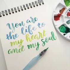 Tu das vida a mi corazón y a mi alma #letteritmay @jennyhighsmith #calligraphy #caligrafia #life #heart #corazon #soul #alma #handlettering #handlettered #brushpen #handlettering #typography #type #watercolor #acuarela