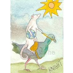TaRat  The Rat Tarot  Original Art  the Knight Of by bluedogrose, $12.00