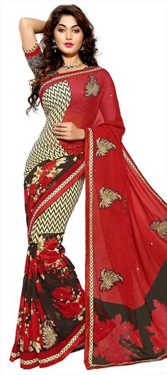 701913 Multicolor  color family Embroidered Sarees, Party Wear Sarees, Printed Sarees in Faux Chiffon fabric with Lace, Machine Embroidery, Patch, Printed, Stone, Thread work   with matching unstitched blouse.