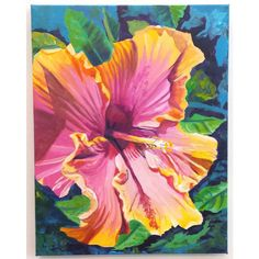 hibiscus original acrylic painting from kauai hawaii hawaiian... ($250) ❤ liked on Polyvore featuring home, home decor, wall art, pink flamingo painting, yellow home decor, pink flower wall art, yellow home accessories and acrylic painting