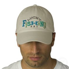 Lucky Fishing Embroidery Hat Embroidered Baseball Cap - Fun & Funky Lucky Fishing Hat for Dads & Sons (moms & daughters too) that love to fish! In blue & grey colors it will go great with all your other fishing gear! These hats make great father's day gifts, holiday gifts, fishing trip gifts, etc.