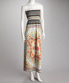 Take a look at this Yellow & Gray Abstract Shirred Maxi Dress by All in the Details: Women's Apparel on @zulily today!