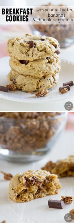 Cookies for breakfast?  Yep - with these Breakfast Cookies with Peanut Butter, Banana and Chocolate Granola are a delicious way to wake up in the morning!