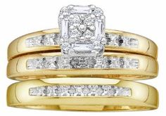 Men's Ladies 10K Yellow Gold .1CT Round Baguette Cut Diamond Wedding Engagement Bridal Trio Ring Set (ladies size 7, men size 10)  #OxyJewelry