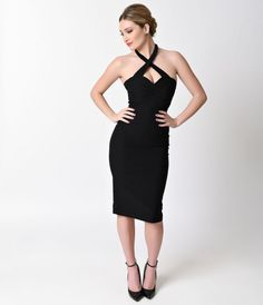 The Swank dress from Steady is a delectable wiggle with a sultry side, cast in a glamorous curve clutching dress silhouette. A crossed halter neck that buttons at the nape the of the neck supports a center gathered and fitted sweet 1940s Fashion, Vintage Fashion, Pinup Girl Clothing, 1940s Dresses, Dress Silhouette, Wiggle Dress, Retro Dress, Ball Dresses, Polyvore Outfits