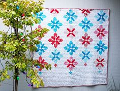 Peppermint Chandelier Raffle Quilt made from our Chandelier Quilt Tutorial at WeAllSew!